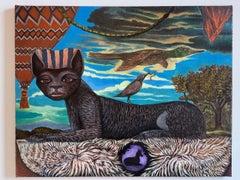 Reclining Cat, Duck, Birds in a Surrealist Landscape, Untitled