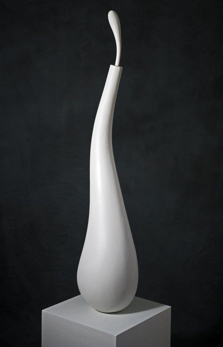 John Maloof Abstract Sculpture - Dancing Bird, white organic sculpture in painted wood