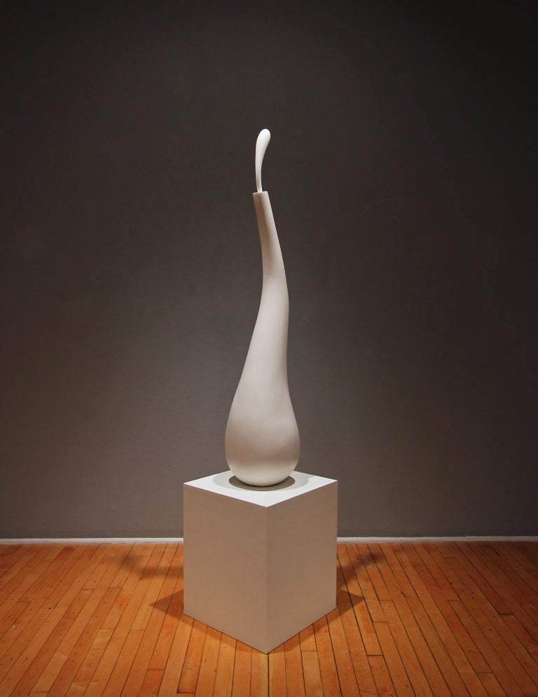 Dancing Bird, white organic sculpture in painted wood - Sculpture by John Maloof