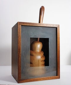 Encapsulated, organic sculpture in wood and glass