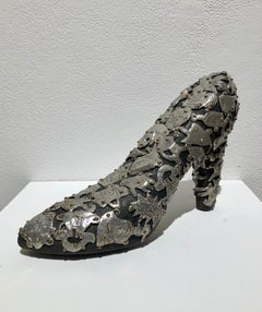 Shoe Sculpture , Female Pump  in wood covered with pewter and brass ornaments