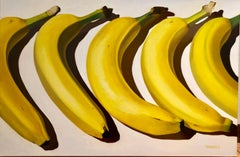 Banana Way, realistic original oil painting of bananas