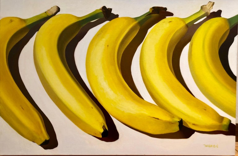 Thaddeus Cutler Still-Life Painting - Banana Way, realistic original oil painting of bananas