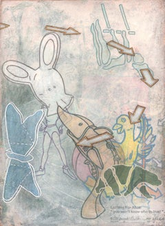 Looking for Alice, layered images of animals and toys, blue