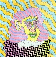 Bubble Beth, colorful cartoonish imagist portrait painting by Joe Tallarico