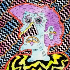 Clem Clam, colorful cartoonish imagist portrait painting by Joe Tallarico