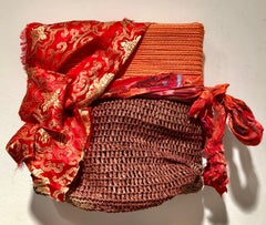 Genten/Color - Fabric and mixed media sculpture, red and brown, varying textures