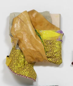 Genten/Color - Fabric textured sculpture, green and brown