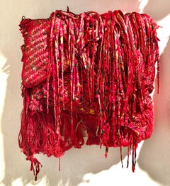 Genten/Color - Red textured fabric and mixed media sculpture