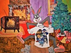 Textured Original Painting, Bugs Bunny, Christmas Tree, Presents, Cartoons