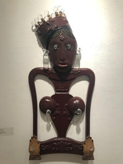 Gypsy Queen, figurative wall sculpture, chair parts, mixed media