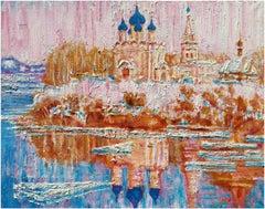 Suzdal River View - Original Oil on burlap painting by Alexander Evgrafov