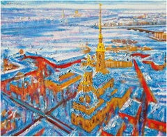 Peter Pavel Cathedral - Original Oil on burlap painting by Alexander Evgrafov