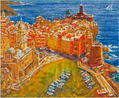 Castle by the Sea - Original Oil on burlap painting by Alexander Evgrafov