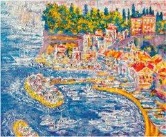 Sunny Capri - Original Oil on burlap painting by Alexander Evgrafov