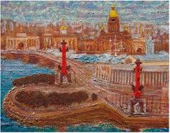 Saint Petersburg Memory - Original Oil on burlap painting by Alexander Evgrafov