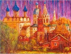 Suzdal Evening - Original Oil on burlap painting by Alexander Evgrafov