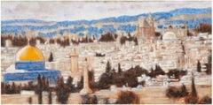 Jerusalem - Original Oil on burlap painting by Alexander Evgrafov