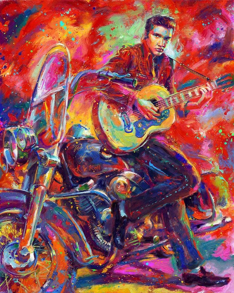 Unique oil on canvas painting of Elvis by Blend Cota Title : The King of Rock 'n' Roll