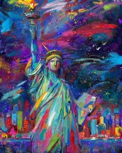 Vive La Liberté - Statue of Liberty - Original Oil on canvas by Blend Cota