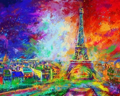 Eiffel Tower - Original Oil on canvas painting by Blend Cota