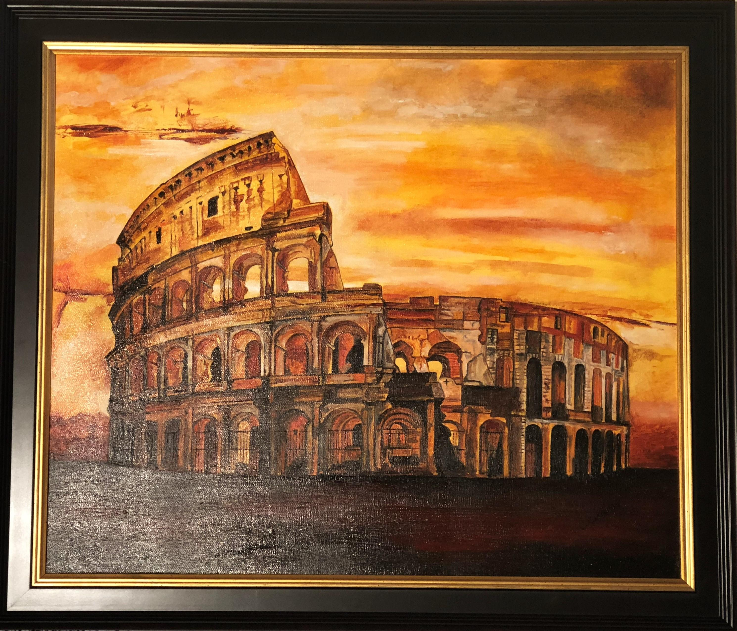 Coliseum of Rome - Original Oil on Canvas Painting by Catherine Colosimo