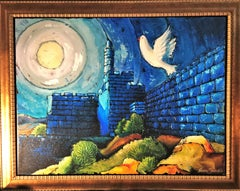 Dove of Peace - Original Mixed Media on Canvas by Haim Sherrf