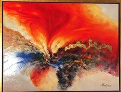 The Burning Bush - Original Mixed Media on canvas by Haim Sherrf