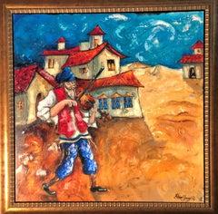 Village Fiddler - Original Mixed Media on canvas by Haim Sherrf