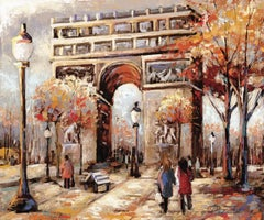 View of Arc de Triomphe Ver. XXI - Oil on Canvas Painting by Redina Tili