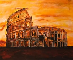 City of Rome the Coliseum - Original oil on canvas painting