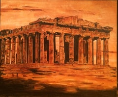 Metropolis Past Ruins - Originla oil on canvas painting by Catherine Colosimo