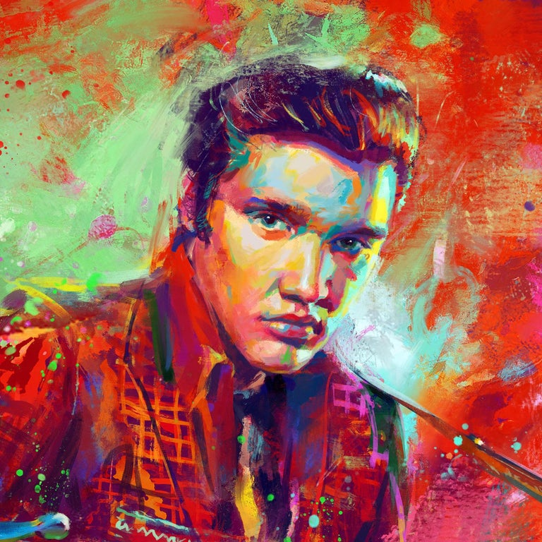 The King of Rock 'n' Roll - Original oil on canvas painting by Blend Cota For Sale 2