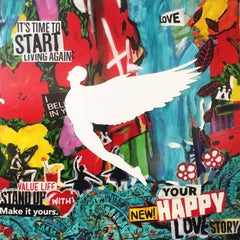Start - Acrylic, Pigment Paint with White Wooden Angel - Mix Media - FRAMED