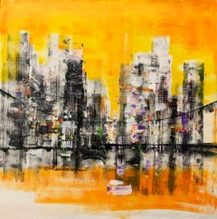 Dream Town - Abstract Painting, Mixed Media, Canvas, 21st Century, Acrylic Paint