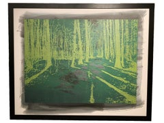 Forest in Green - Wooden engraved panel - Etched and hand printed - Framed