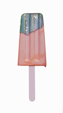 """Rose Gold & Blue Popsicle"" - Original Resin Sculpture by Betsy Enzensberger"