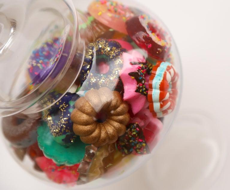 Donut Jar - Handmade Mini Resin Donuts in Glass Candy Jar / colorful  2