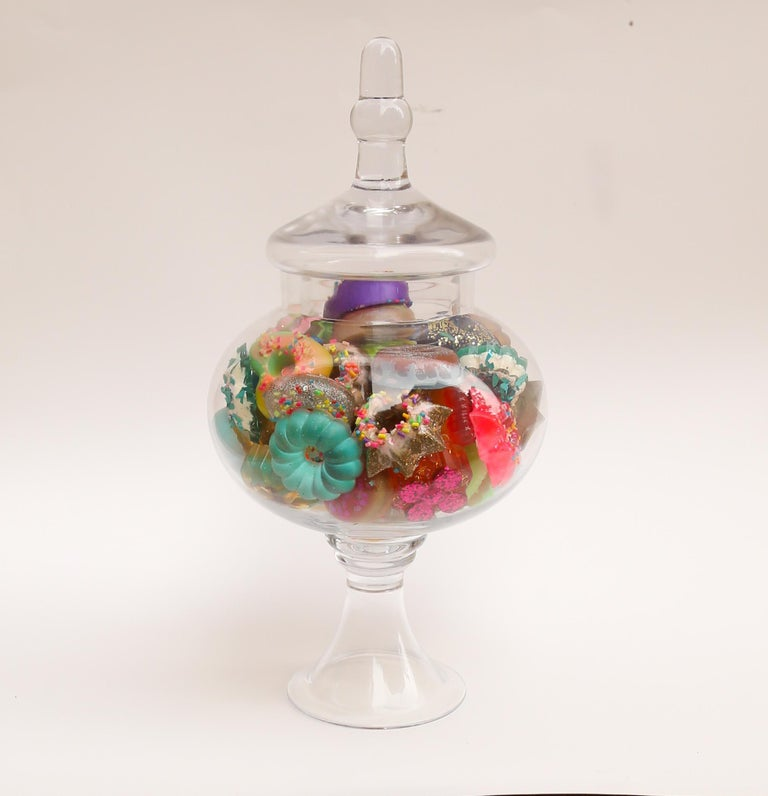 Donut Jar - Handmade Mini Resin Donuts in Glass Candy Jar / colorful  4