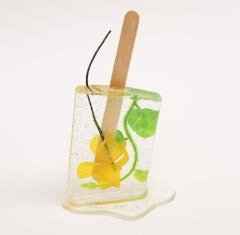 Glittery Yellow Flower Popsicle - Original Resin Sculpture by Betsy Enzensberger