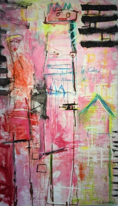 """""""In The Pink"""" - Original Expressionist Painting by Amadea Bailey"""