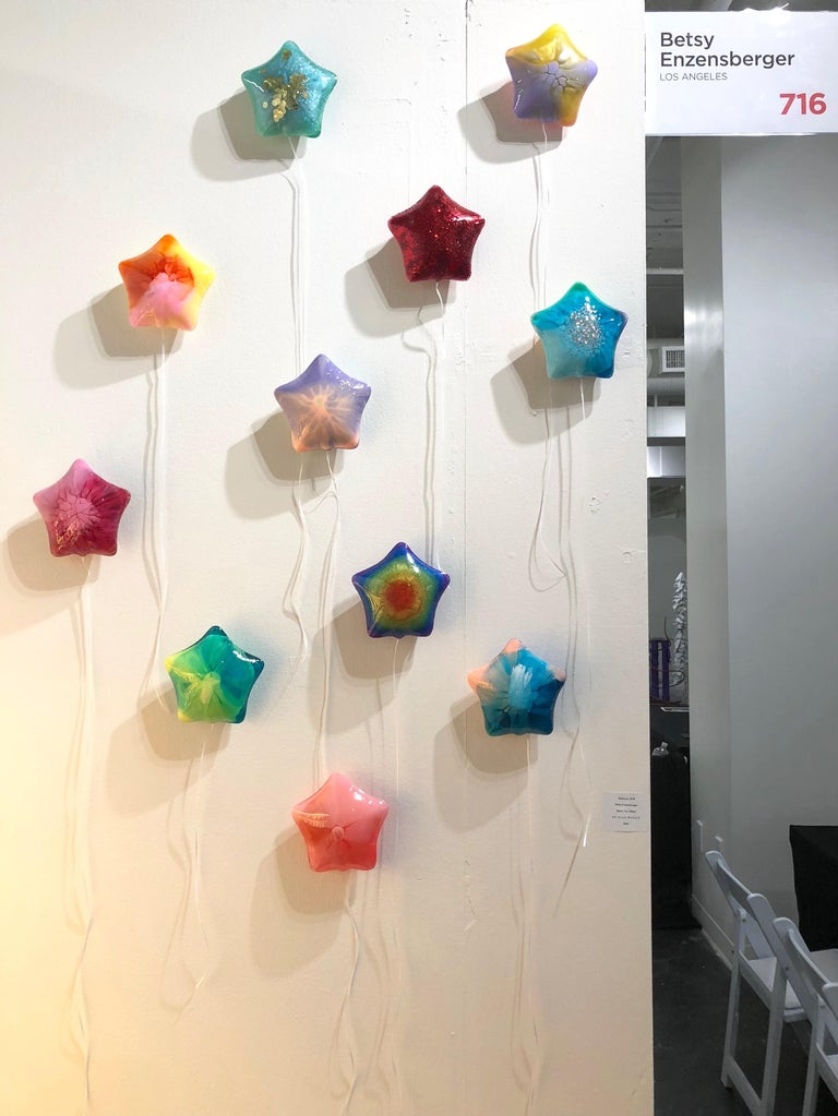 Aqua Confetti Balloon - Solid Resin Wall Sculpture by Betsy Enzensberger For Sale 2