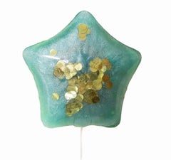 Aqua & Gold Confetti Balloon - Solid Resin Wall Sculpture by Betsy Enzensberger