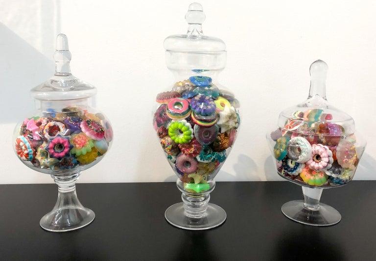 Donut Jar - Handmade Mini Resin Donuts in Glass Candy Jar / colorful  6