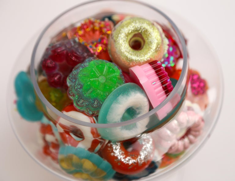 Donut Jar - Handmade Mini Resin Donuts in Glass Candy Jar / colorful  2