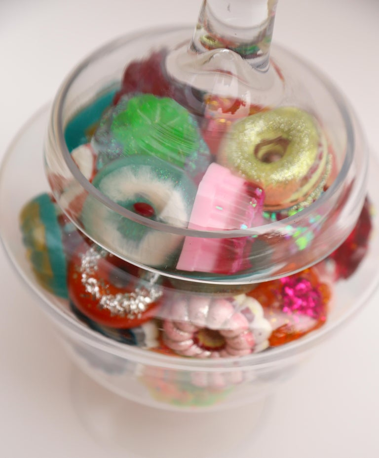 Donut Jar - Handmade Mini Resin Donuts in Glass Candy Jar / colorful  3