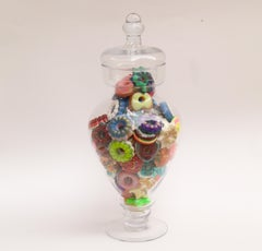 Donut Jar - Handmade Mini Resin Donuts in Glass Candy Jar / colorful