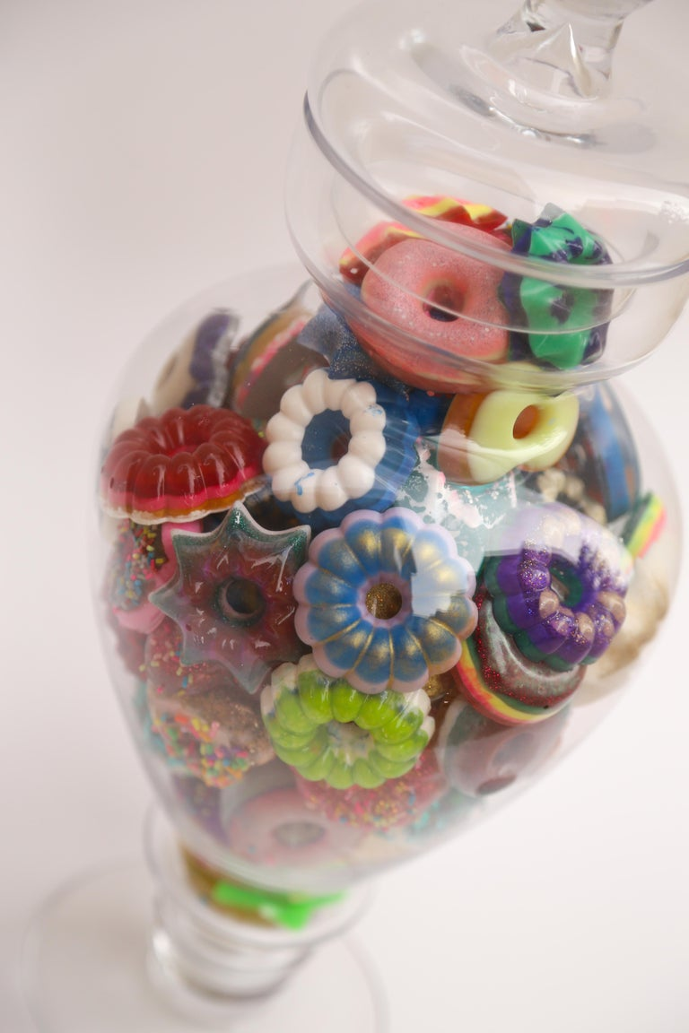 Donut Jar - Handmade Mini Resin Donuts in Glass Candy Jar / colorful  For Sale 1