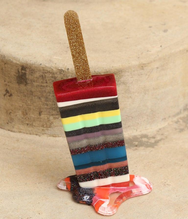 Multi Stripe Popsicle - Original Resin Sculpture by Betsy Enzensberger For Sale 2