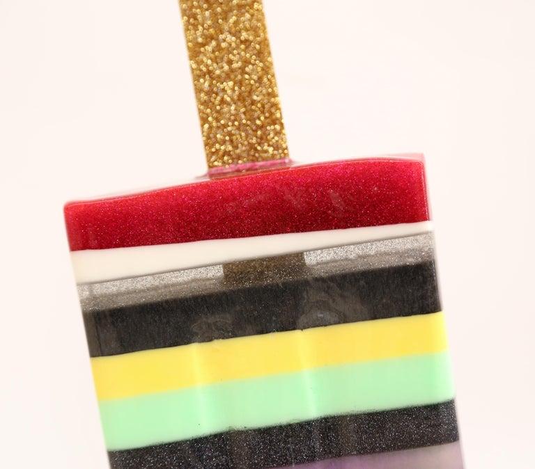 Multi Stripe Popsicle - Original Resin Sculpture by Betsy Enzensberger For Sale 4